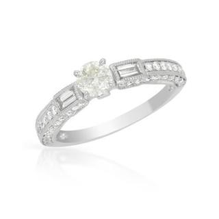 18k White Gold 1.08ct TDW Diamond Solitaire Engagement Ring