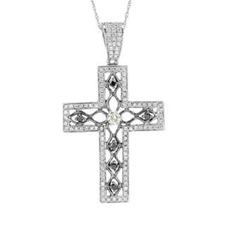 14k Two-tone Gold Cross Necklace with 3/4ct TW Diamonds