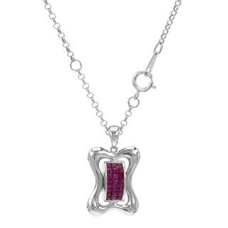 Necklace with 1ct TW Princess-cut Diamonds and Rubies Crafted in 18K White Gold