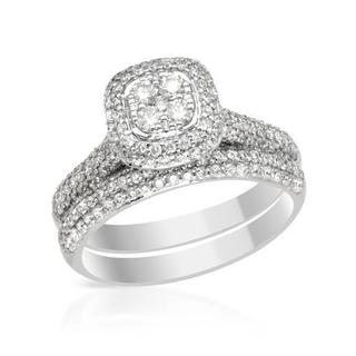 14k White Gold 1.49ct TDW Diamond Bridal Set