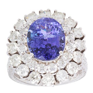 JAQU DE LILI Ring with 9.15ct TW Diamonds and Tanzanite 14K White Gold