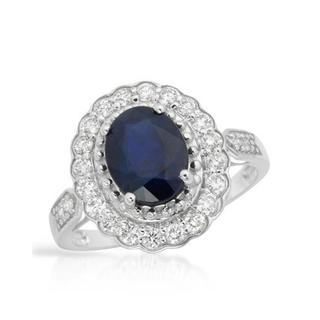 Ring with 2.55ct TW Diamonds and Sapphire 14K White Gold