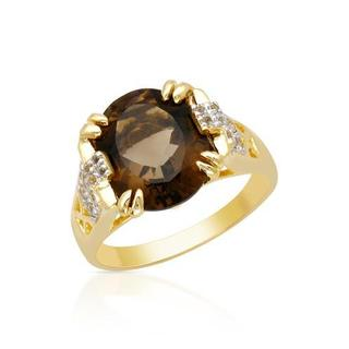 Ring with 4.74ct TW Topazes Crafted in Yellow Gold