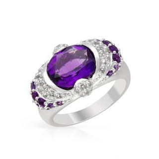 Ring with 4.34ct TW Amethysts and Topazes in White Gold