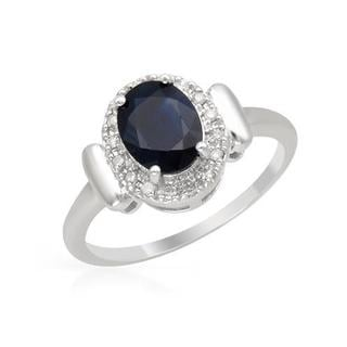 Ring with 1.62ct TW Genuine Diamonds and Sapphire in White Gold