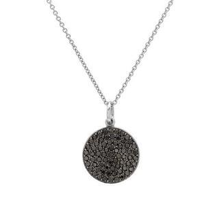 14k White Gold 5/8ct TDW Black Diamond Circle Necklace