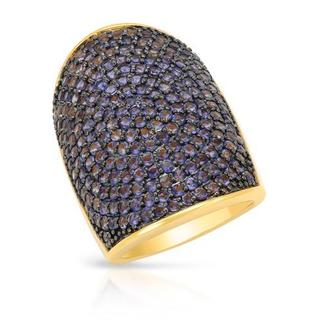 Yours by Loren Ring with 5.27ct TW Iolites in 14K/925 Gold-plated Silver