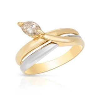 Solitaire Ring with 0.40 ct TW Marquise-cut Diamond Crafted in 900/18K Platinum and gold