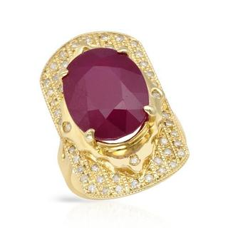 Cocktail Ring with 16.56ct TW Diamonds and Composite Ruby Crafted in 14K Yellow Gold