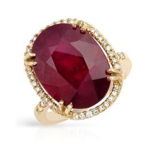 Cocktail Ring with 15.3ct TW Diamonds and Composite Ruby 14K Yellow Gold