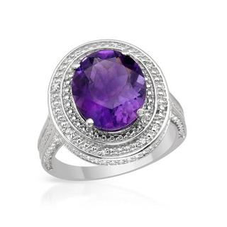Cocktail Ring with 4.68ct TW Amethyst and Diamonds in .925 Sterling Silver
