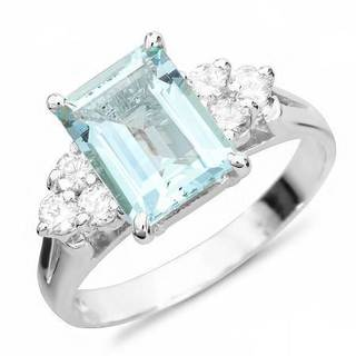 Foreli Ring with 2.3ct TW Aquamarine and Diamonds in 14K White Gold