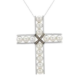 Cross Necklace with Diamonds/ 60mmFreshwater Pearls 14K White Gold
