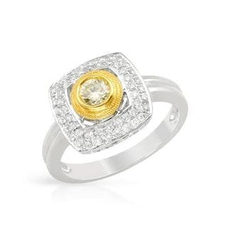 Ring with 0.55ct TW Genuine Natural Fancy Yellow Diamonds Crafted in 18K Two-tone Gold