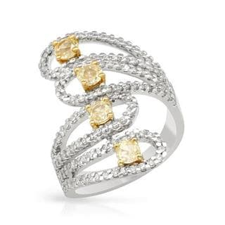 Ring with 1.92ct TW Natural Fancy Light Yellow Diamonds in 18K Two-tone Gold