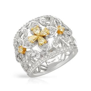 Ring with 1.74ct TW Natural Fancy Yellow Diamonds in 18K Two-tone Gold