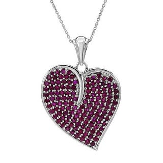 Heart Necklace with 6.24ct TW Rubies Crafted in .925 Sterling Silver