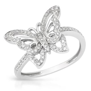 Vida 14k White Gold and Diamond Butterfly Ring