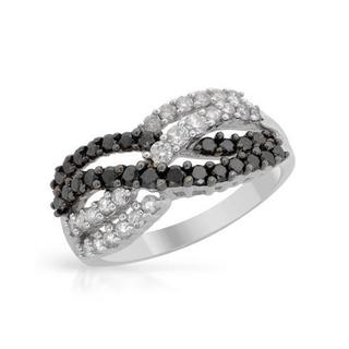 10k White Gold 1ct TDW Black/and White Diamond Ring (I1-I2, H-J)