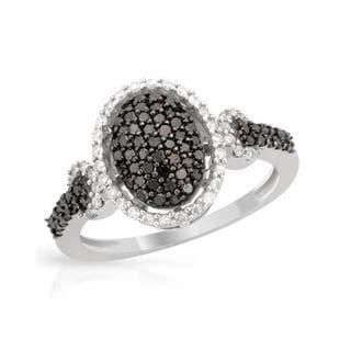 14k White Gold .62ct TDW Black/ White Diamond Ring (Black, declasse, G-I, I1-I2)