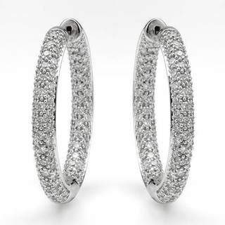 Hoops Earrings with 2.46ct TW Diamonds in 18K White Gold