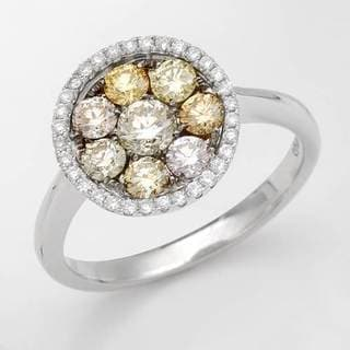 Ring with 1ct TW Natural Fancy Yellow Diamonds in 14K White Gold