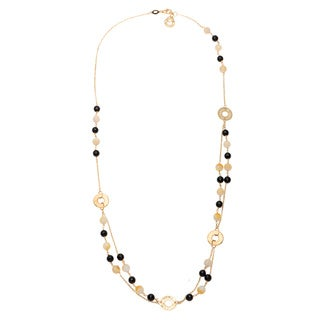 Rosato Italy Women's 9k Gold Necklace Mother of Pearl / Crystals with
