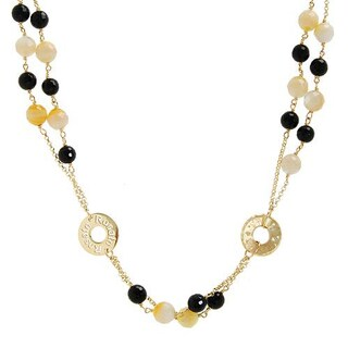 9kt Yellow Gold Mother of Pearl Swarovki Crystal Italian Necklace