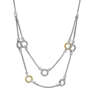 Double Layer Two-tone Sterling Silver Necklace