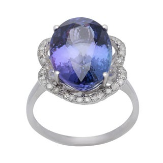 Cocktail Ring with 10.27ct TW Genuine Diamonds and Tanzanite Crafted in 14K White Gold