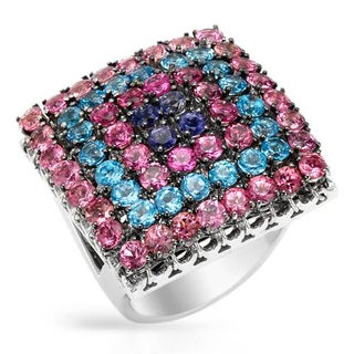 GARAVELLI Ring with 7.16ct TW Iolites, Topazes and Tourmalines of 18K White Gold