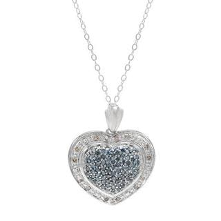 .925 Sterling Silver Heart Necklace with 3/4ct TW Diamonds