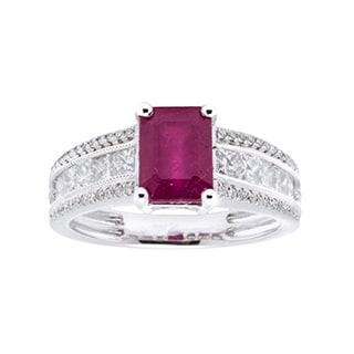 Ring with 3.08ct TW Genuine Diamonds and Ruby in 14K White Gold