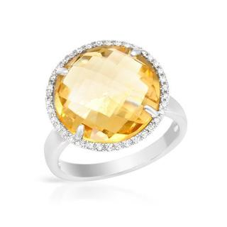 Cocktail Ring with 8.15ct TW Citrine and Diamonds in 14K White Gold