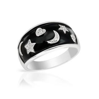 14K White Gold Black Enamel Diamond Ring