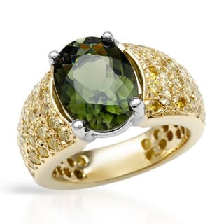 Cocktail Ring with 5.85ct TW Diamonds and Tourmaline of 18K Two-tone Gold