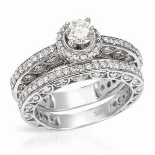 14k White Gold 1 1/3ct TDW Diamond Bridal Set