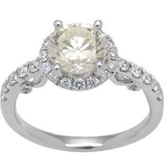 14K White Gold 2.14ct TW Genuine Super Diamond Ring