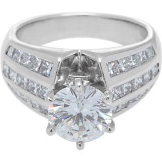 18K White Gold Princess-cut 6/10 ct TDW Diamond Ring