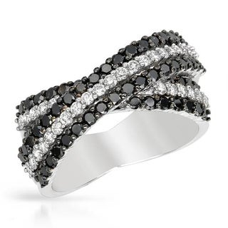 14k White Gold Ring with 1.1ct TW of White and Black Diamonds
