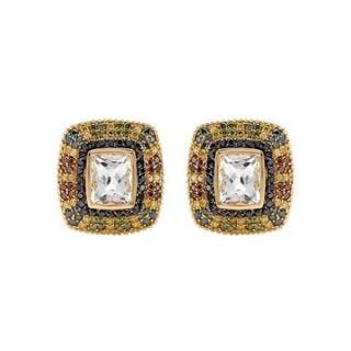 FPJ Earrings with 14.7ct TW , , , Diamonds and Topazes of 14K Yellow Gold