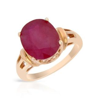 Ring with 5 1/4ct TW Glass Filled Ruby in 14K/925 Gold-plated Silver