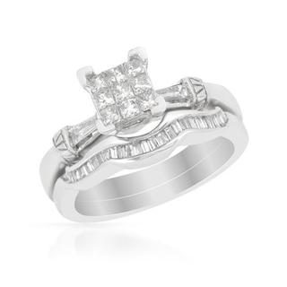 14k White Gold 0.74ct TDW Diamond Bridal Set