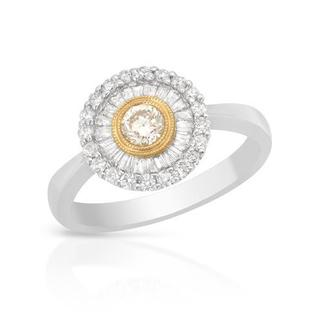 Ring with 0.85ct TW Natural Fancy Yellow Diamonds in 18K Two-tone Gold