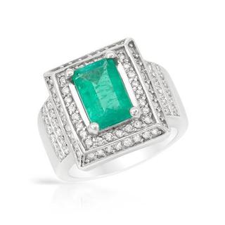 Ring with 2.81ct TW Genuine Diamonds and Emerald in 14K White Gold