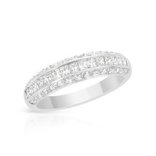 18k White Gold 1.07ct TDW Princess-cut Diamond Wedding Band