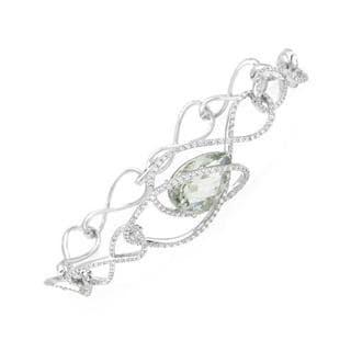 14k White Gold Bracelet with 2.55ct TDW Quartz and Diamonds