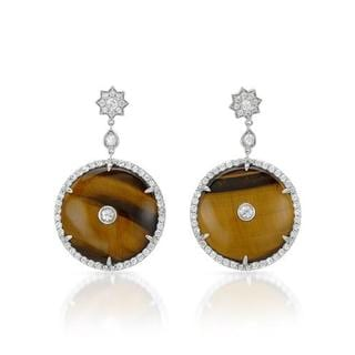 Yours by Loren Earrings with 10.34ct TW Tigers eyes and Zircons in .925 Sterling Silver