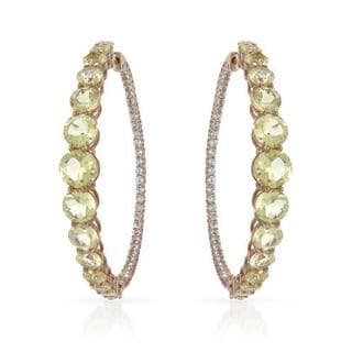 Yours by Loren Hoops Earrings with 21.2ct TW Quartz and Zircons of 14K/925 Gold-plated Silv