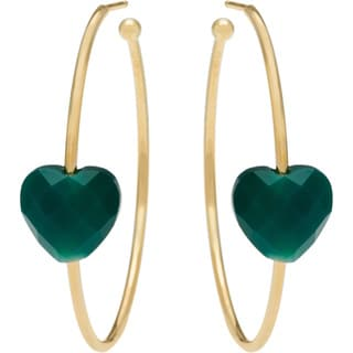 Yours by Loren Gold-plated Silver Agate Heart Hoop Earrings with 13.8ct TW